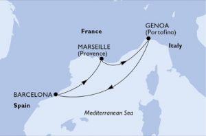 Itinerario Crociera: Genova, Barcellona, Marsiglia, Genova