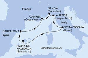 Itinerario Crociera: Civitavecchia, Palma di Maiorca, Barcellona, Cannes, Genova, La Spezia, Civitavecchia
