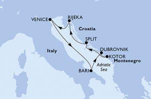 Venezia, Bari, Dubrovnik, Kotor, Spalato, Rijeka, Venezia