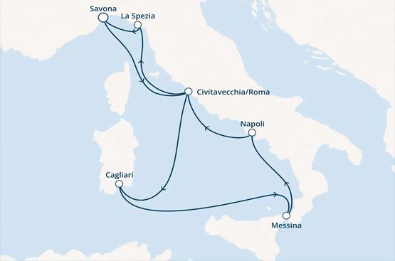 Itinerario: Savona, Civitavecchia, Cagliari, Messina, Napoli, Civitavecchia, La Spezia, Savona