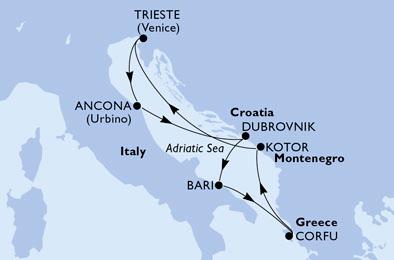 Itinerario: Trieste, Ancona, Dubrovnik (Croazia), Bari, Corfù (Grecia), Kotor (Montenegro), Trieste