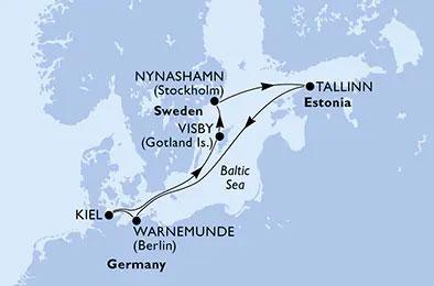 Itinierario: Kiel (Germania), Visby (Svezia), Nynashamn (Svezia), Tallinn (Estonia), Warnemunde (Germania), Kiel (Germania)